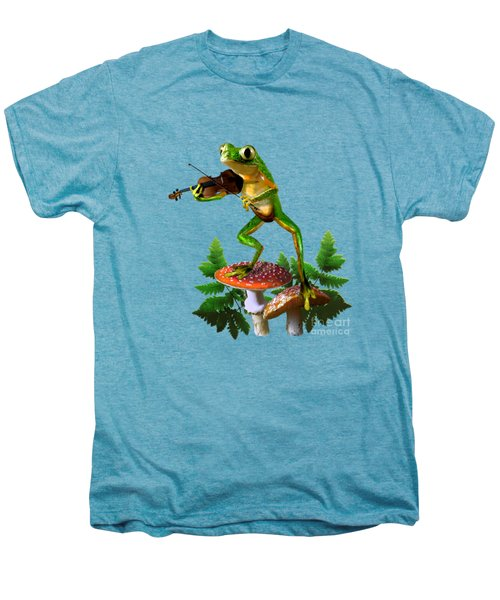 Humorous Tree Frog Playing A Fiddle Men's Premium T-Shirt by Regina Femrite