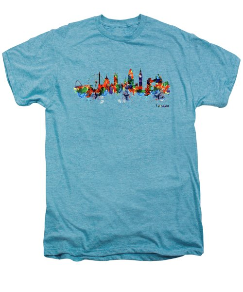 London Watercolor Skyline Silhouette Men's Premium T-Shirt