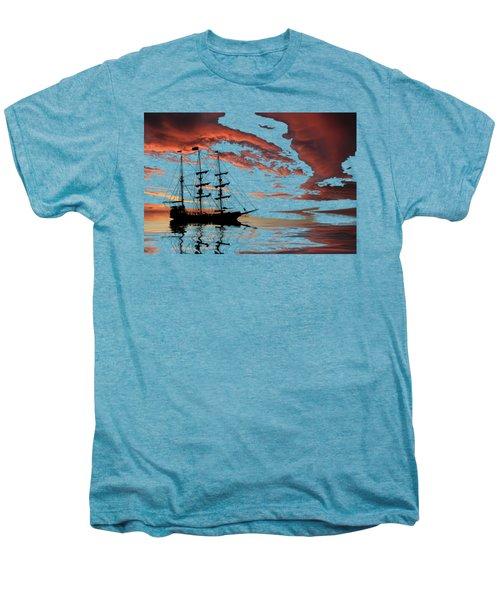 Pirate Ship At Sunset Men's Premium T-Shirt