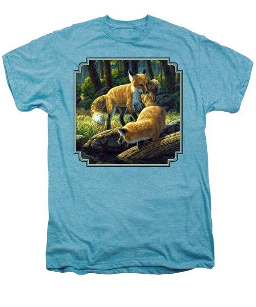 Red Foxes - Sibling Rivalry Men's Premium T-Shirt by Crista Forest