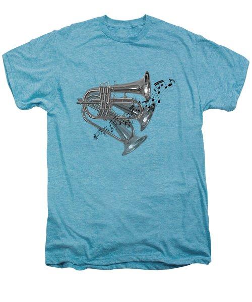 Trumpet Fanfare Black And White Men's Premium T-Shirt by Gill Billington