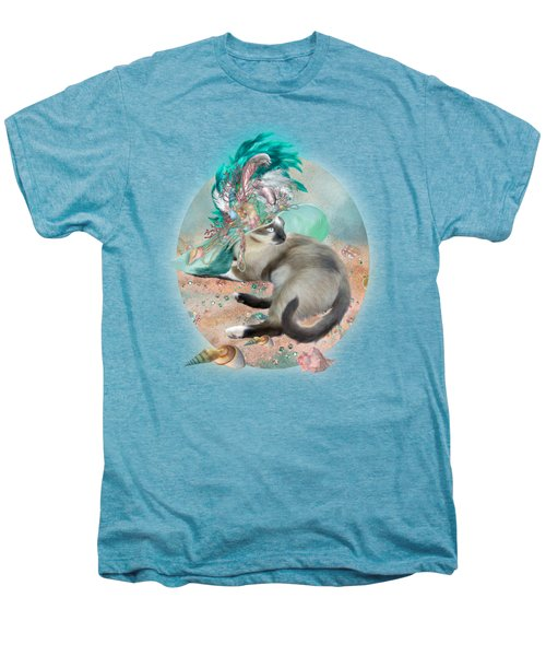 Cat In Summer Beach Hat Men's Premium T-Shirt by Carol Cavalaris