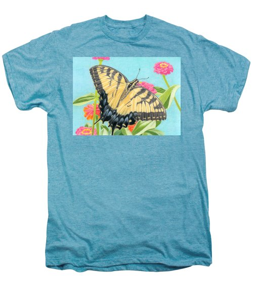Swallowtail Butterfly And Zinnias Men's Premium T-Shirt by Sarah Batalka