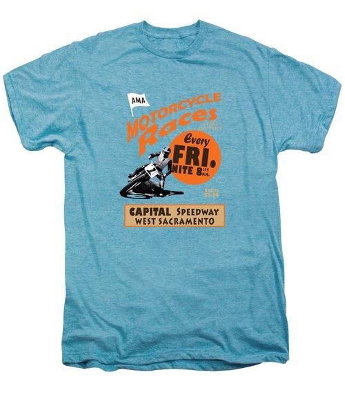 Motorcycle Speedway Races Men's Premium T-Shirt by Mark Rogan