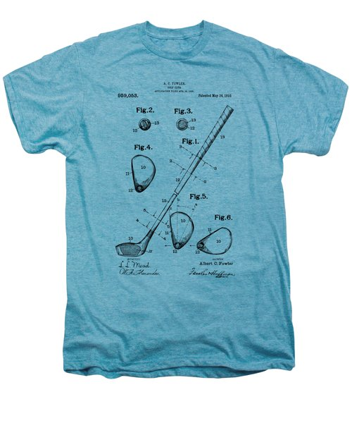 Vintage 1910 Golf Club Patent Artwork Men's Premium T-Shirt by Nikki Marie Smith