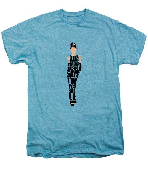 Audrey Hepburn Typography Poster Men's Premium T-Shirt