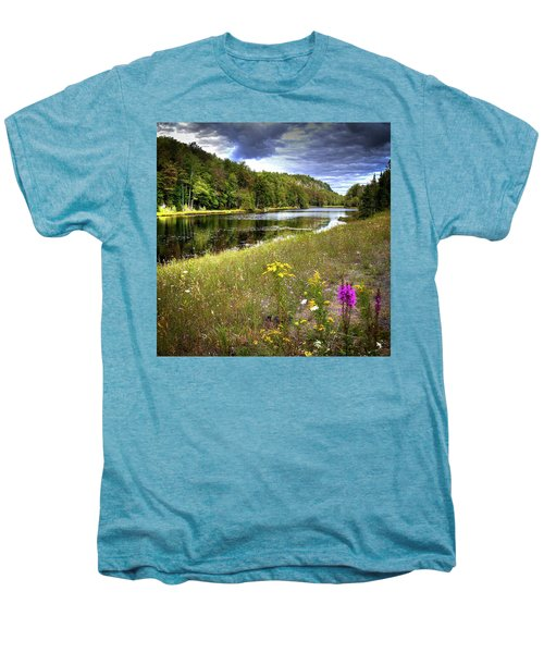 Men's Premium T-Shirt featuring the photograph August Flowers On The Pond by David Patterson