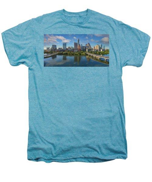 Austin Skyline Panorama Spring Afternoon 7-1 Men's Premium T-Shirt by Rob Greebon