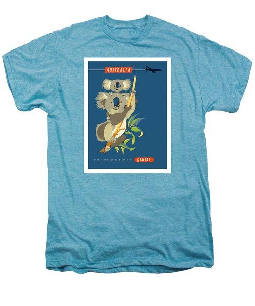 Australia Koala Bears Qantas Empire Airways Vintage Travel Poster Men's Premium T-Shirt