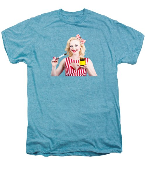 Australian Pinup Woman Holding Sandwich Spread Men's Premium T-Shirt by Jorgo Photography - Wall Art Gallery