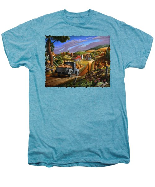 Autumn Appalachia Thanksgiving Pumpkins Rural Country Farm Landscape - Folk Art - Fall Rustic Men's Premium T-Shirt by Walt Curlee