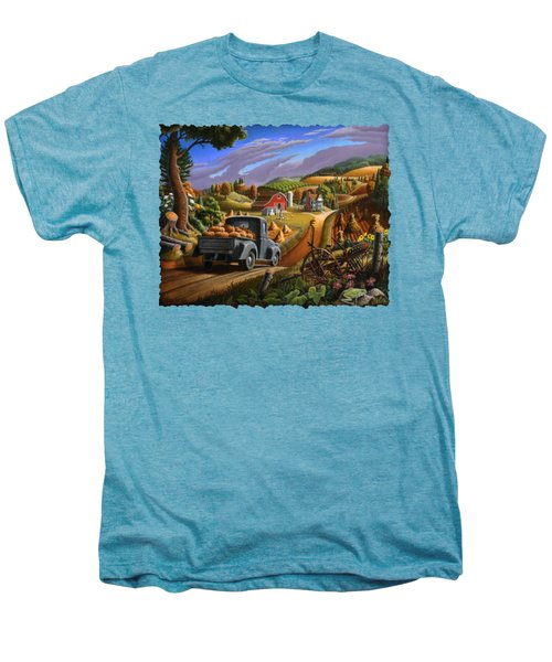 Autumn Appalachia Thanksgiving Pumpkins Rural Country Farm Landscape - Folk Art - Fall Rustic Men's Premium T-Shirt