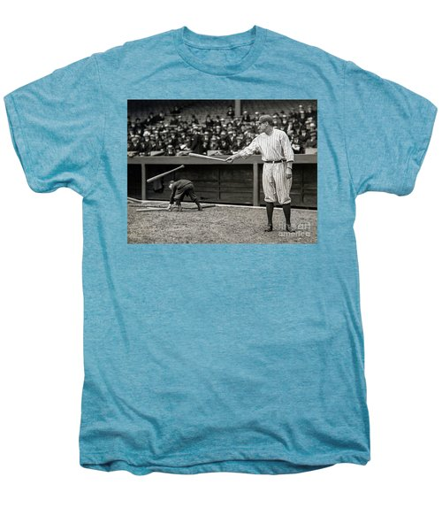 Babe Ruth At Bat Men's Premium T-Shirt by Jon Neidert