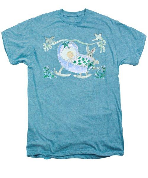 Baby Boy With Bunny And Birds Men's Premium T-Shirt