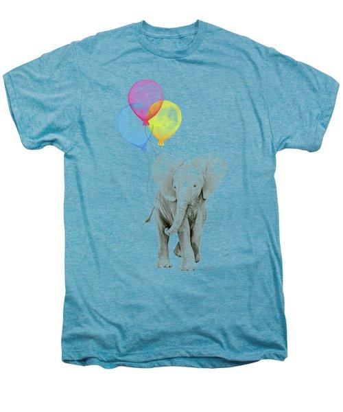 Baby Elephant With Baloons Men's Premium T-Shirt by Olga Shvartsur