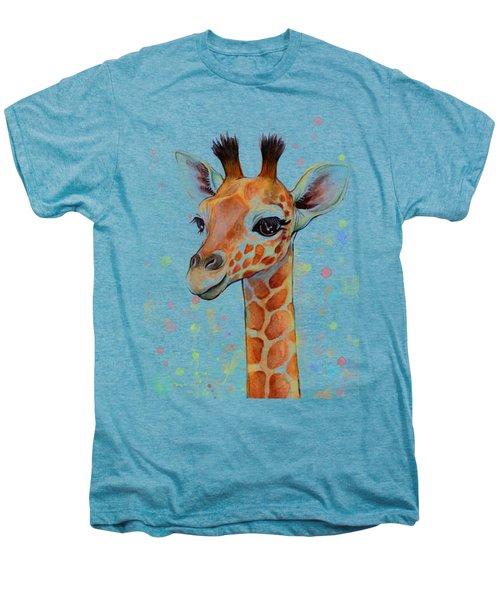 Baby Giraffe Watercolor  Men's Premium T-Shirt