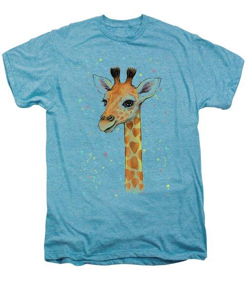 Baby Giraffe Watercolor With Heart Shaped Spots Men's Premium T-Shirt by Olga Shvartsur