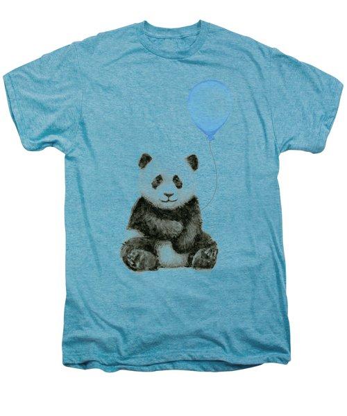 Baby Panda With Blue Balloon Watercolor Men's Premium T-Shirt