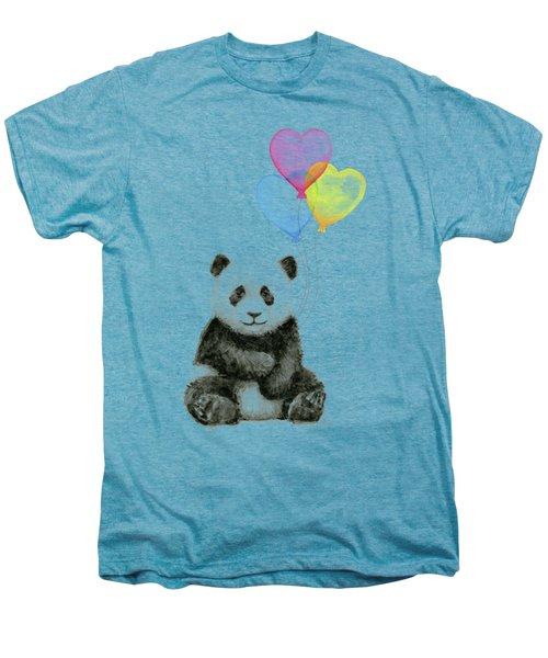Baby Panda With Heart-shaped Balloons Men's Premium T-Shirt by Olga Shvartsur