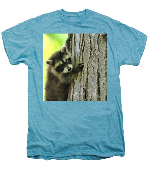Baby Raccoon In A Tree Men's Premium T-Shirt by Dan Sproul