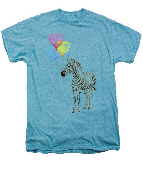 Baby Zebra Watercolor Animal With Balloons Men's Premium T-Shirt