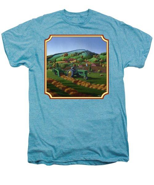 Baling Hay Field - John Deere Tractor - Farm Country Landscape Square Format Men's Premium T-Shirt