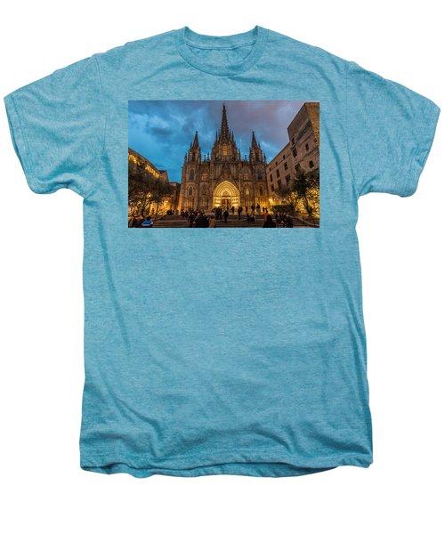 Barcelona Cathedral At Dusk Men's Premium T-Shirt by Randy Scherkenbach