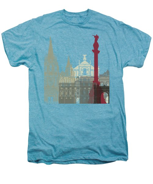 Barcelona Skyline Poster Men's Premium T-Shirt by Pablo Romero