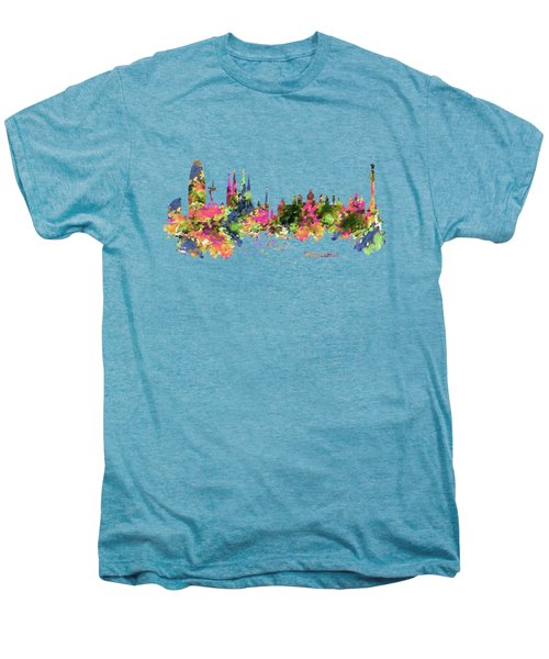 Barcelona Watercolor Skyline Men's Premium T-Shirt