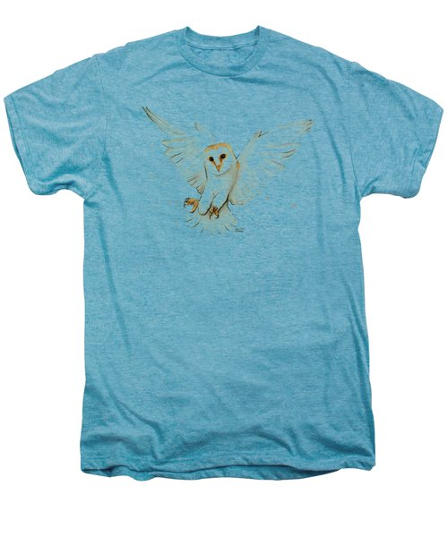 Barn Owl Flying Watercolor Men's Premium T-Shirt