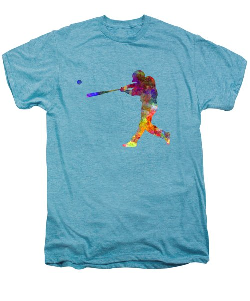 Baseball Player Hitting A Ball 02 Men's Premium T-Shirt by Pablo Romero