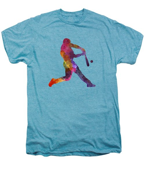 Baseball Player Hitting A Ball Men's Premium T-Shirt by Pablo Romero