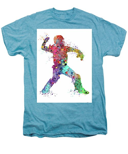 Baseball Softball Catcher 3 Watercolor Print Men's Premium T-Shirt