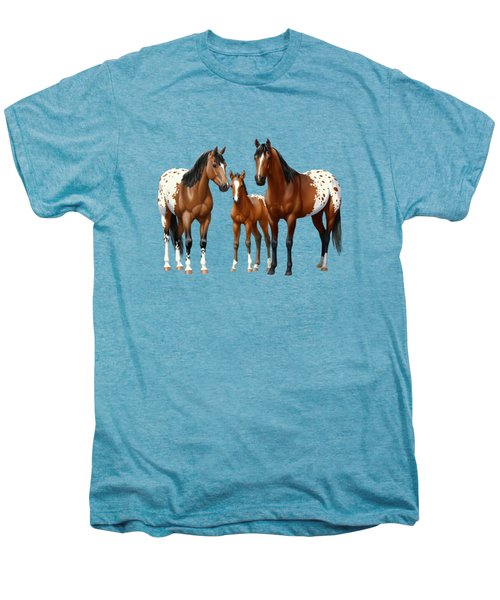 Bay Appaloosa Horses In Winter Pasture Men's Premium T-Shirt by Crista Forest