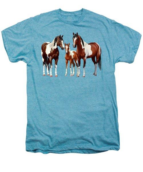 Bay Paint Horses In Winter Men's Premium T-Shirt