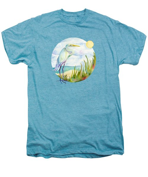 Beach Heron Men's Premium T-Shirt by Amy Kirkpatrick