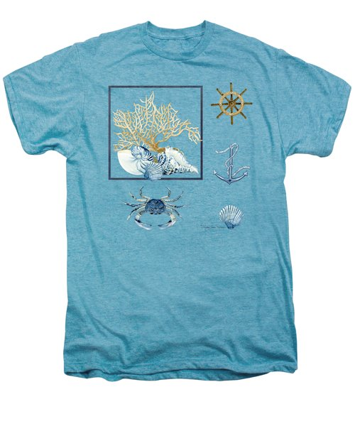 Beach House Nautical Seashells Ships Wheel Anchor N Crab Men's Premium T-Shirt