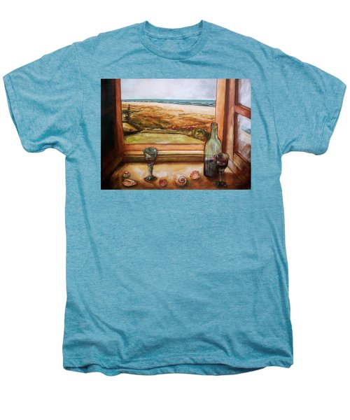 Men's Premium T-Shirt featuring the painting Beach Window by Winsome Gunning