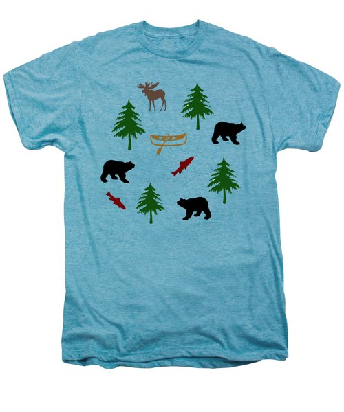 Men's Premium T-Shirt featuring the mixed media Bear Moose Pattern by Christina Rollo