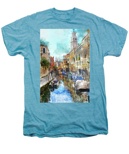 Beautiful Boats In Venice, Italy Men's Premium T-Shirt
