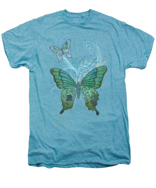 Beautiful Butterflies N Swirls Modern Style Men's Premium T-Shirt