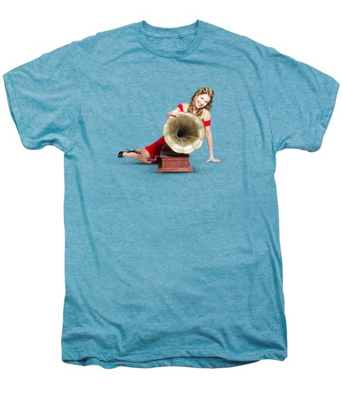Men's Premium T-Shirt featuring the photograph Beautiful Pinup Woman Listening To Old Gramophone by Jorgo Photography - Wall Art Gallery