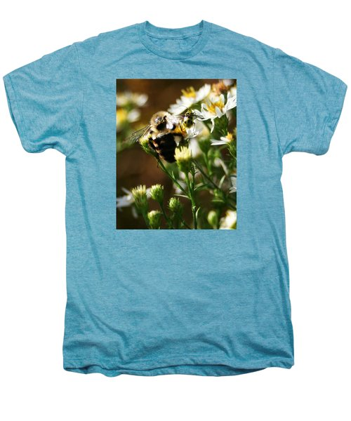 Bee And Spotted Cucumber Beetle On Aster Men's Premium T-Shirt