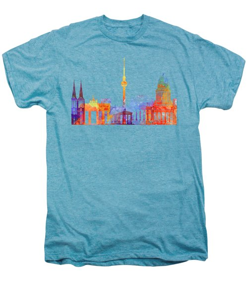 Berlin Landmarks Watercolor Poster Men's Premium T-Shirt