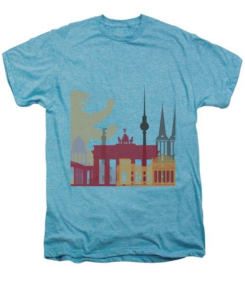 Berlin Skyline Poster Men's Premium T-Shirt by Pablo Romero