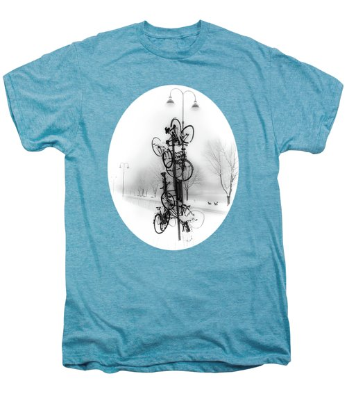 Bicycle Lamppost In Winter Men's Premium T-Shirt