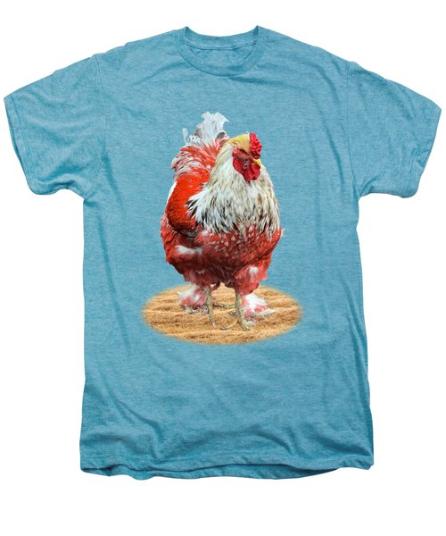 Big Red Rooster On White Men's Premium T-Shirt