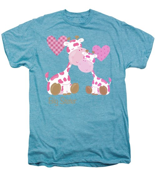 Big Sister Cute Baby Giraffes And Hearts Men's Premium T-Shirt by Tina Lavoie