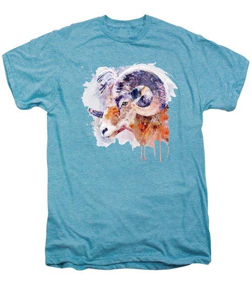 Bighorn Sheep Watercolor Portrait Men's Premium T-Shirt