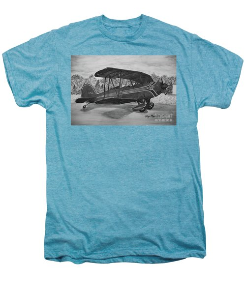 Biplane In Black And White Men's Premium T-Shirt by Megan Cohen